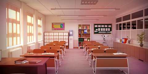 Classroom with table, chairs, panel and school cabinet. Clasroom front view. 3D Rendering.