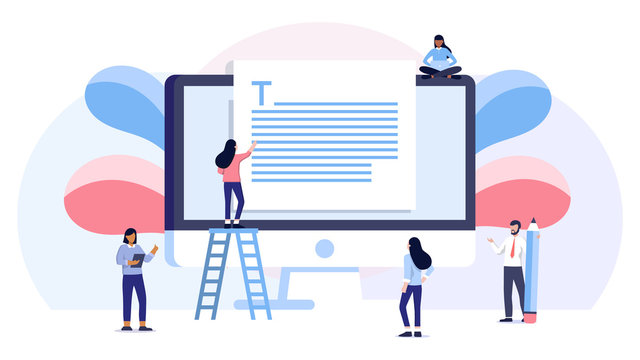group of student study online education about storytelling, copywriting, seo, text on computer screen. vector illustration concept, can be use for, landing page, template, ui