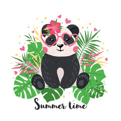 Greeting card with cute panda in hand drawn style.