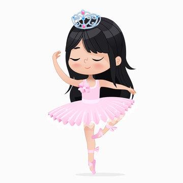 Cute Small Princess Girl Ballerina Dance Isolated. Caucasian Ballet Dancer Sweet Baby Character Jump Action. Elegant Doll wear Pink Tutu Dress. Enjoy Training Flat Cartoon Vector Illustration.