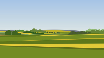 Poster Blue sky Green landscape with yellow fields. Lovely rural nature. Unlimited space. Vector illustration.