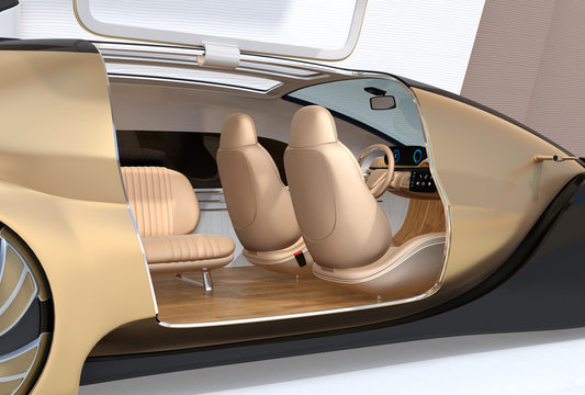 Close-up view of self driving electric car. Right door opened. 3D rendering image.