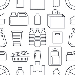 Stop using plastic seamless pattern with flat line icons. Polyethylene pollution awareness vector illustration for poster background. Thin signs of plastics waste, bag, package, canister, bottle
