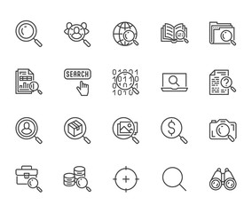 Data search flat line icons set. Magnify glass, find people, image zoom, database exploration, analysis vector illustrations. Thin signs for web engine. Pixel perfect 64x64. Editable Strokes