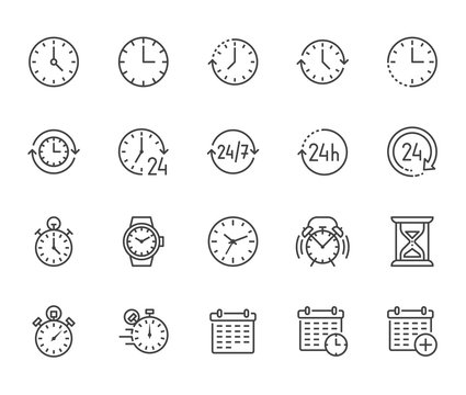 Time flat line icons set. Alarm clock, stopwatch, timer, sand glass, day and night, calendar vector illustrations. Thin signs for productivity management. Pixel perfect 64x64. Editable Strokes