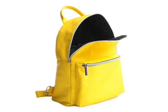 yellow open backpack