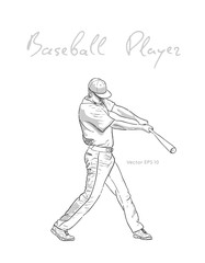 Baseball player with bat hitting the ball sketch