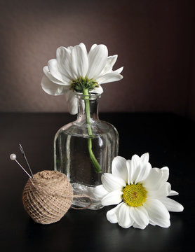 Thread, sewing needle and flowers