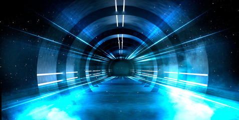 Abstract tunnel, corridor with rays of light and new highlights. Abstract blue background, neon. Scene with rays and lines, Round arch, light in motion, night view.