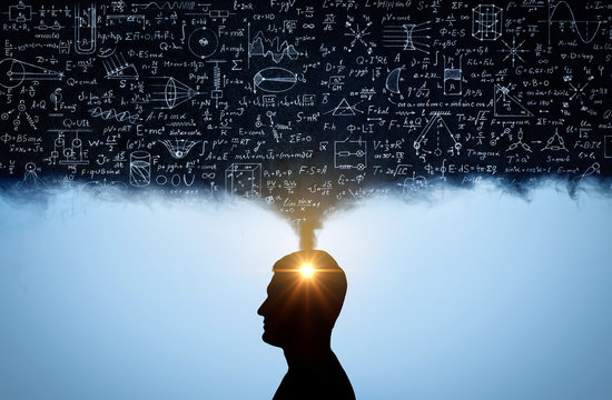 Silhouette of a man, with thoughts in the form of physico-mathematical formulas. The concept of scientific and education topics.