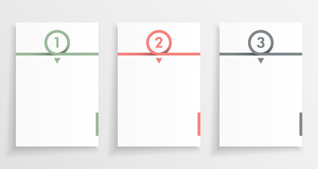 Three step paper or note infograph with numbered pages in minimal design. Wall mural