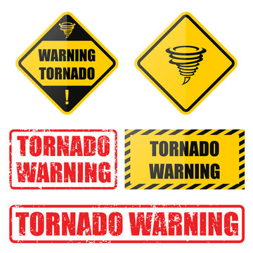 Tornado warning set with road signs and gurnge style stamps and badges. Collection of tornado awareness vector illustrations.