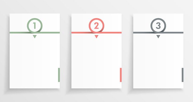 Three step paper or note infograph with numbered pages in minimal design.