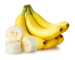 sliced five bananas isolated white background with clipping path and shadow