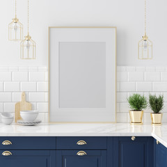 Wall Mural - Mock up poster frame close-up in kitchen  interior, American style, 3d render