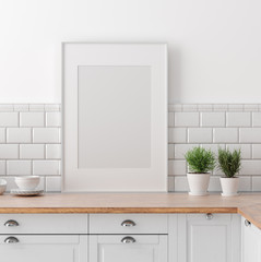 Mock up poster frame in kitchen interior, Scandinavian style, 3d render