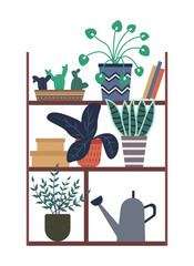 Plants growing in pots vector, houseplants in different flowerpots, books and boxes on wooden construction. Greenhouse orangery foliage and flora