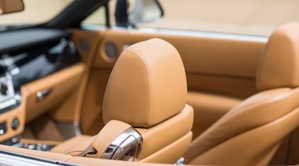 orange leather car interior