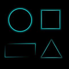 Colorful geometric neon frames set. Vector illustration.