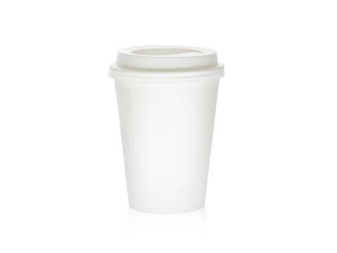Blank cardboard take away coffee cup isolated on a white background