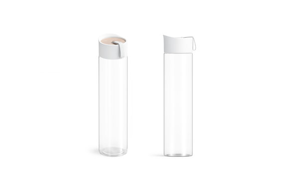 Blank white glass sport bottle mockup set, front and side view, 3d rendering. Clear plexiglass flask for tourism mock up, isolated. Clear beverage container for print design template.