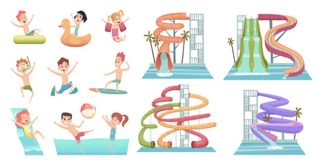 Water park. Pool slides aqua attractions for kids swimming and jumping happy characters swim rings vector cartoon pictures. Activity aqua park, attraction outdoor swimming illustration