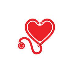 stethoscope love heart medical decoration logo vector
