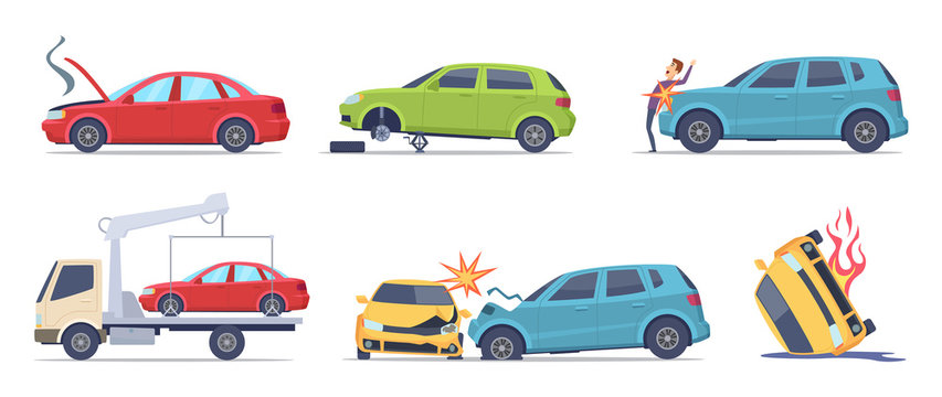 Car accident. Damaged transport on the road repair service insurances vehicle vector illustrations in cartoon style. Accident crash car, emergency broken and insurance auto