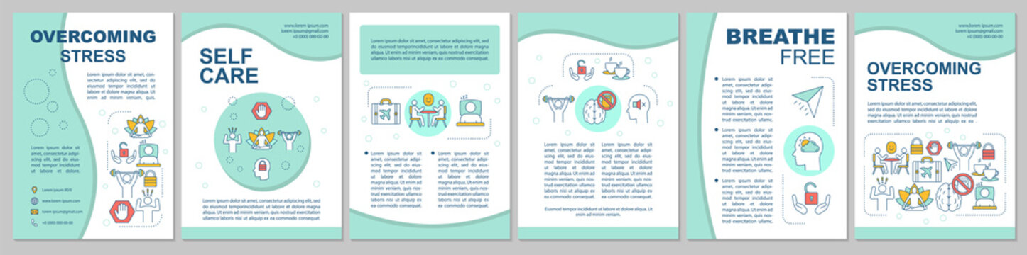 Overcoming stress brochure template layout