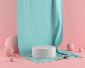 3d Scene rendering of geometric shape abstract background with pastel color podium in minimal design.