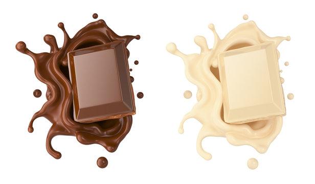 dark and white chocolate pieces falling on chocolate sauce and Milk cream splash 3d illustration.