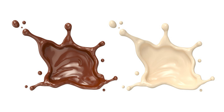 Chocolate milk or cocoa splash isolated on white background, 3d rendering Include clipping path.