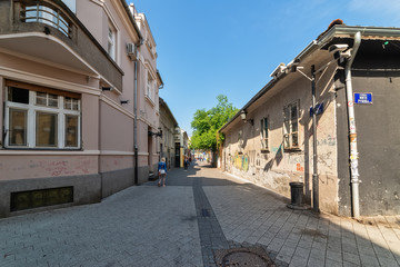 Novi Sad, Serbia April 06, 2019: Old street of Novi Sad Serbia city center. Laze Teleckog Street with the best Novi Sad pubs.