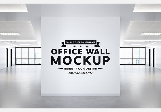 Blank Square Wall in Empty Office with Windows Mockup