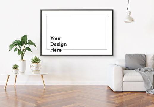 Isolated Horizontal Frame Hanging on Wall in Interior Mockup