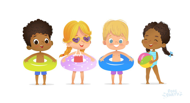 Happy Multiracial Friend Play in Swimming Pool. Fun Party Child Relax Summer Vacation. Black Girl Swimsuit with Ring. White Blonde Laugh Sunglasses Flat Cartoon Vector