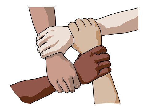 Four diverse men holding each others wrists. Top view. Vector