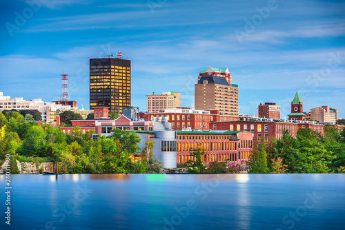 Fototapete Manchester, New Hampshire, USA Skyline on the Merrimack River