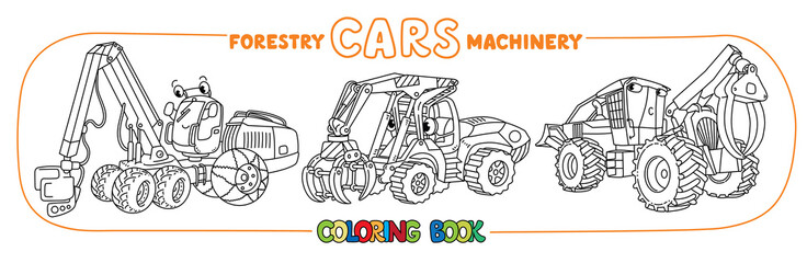 Skidder, harvester and handler cars coloring set