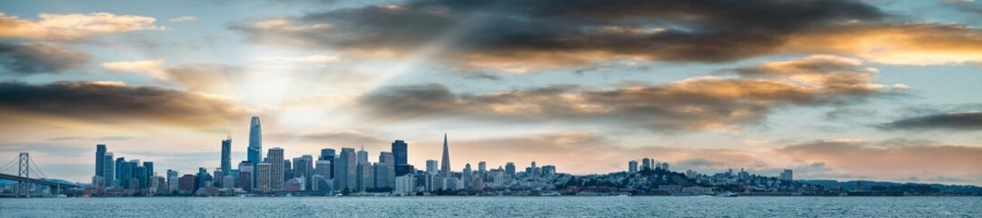 San Francisco, California. Panoramic view of Downtown skyline at sunset