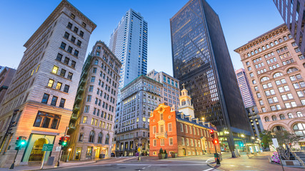 Boston, Massachusetts, USA Old State House and cityscape. Wall mural