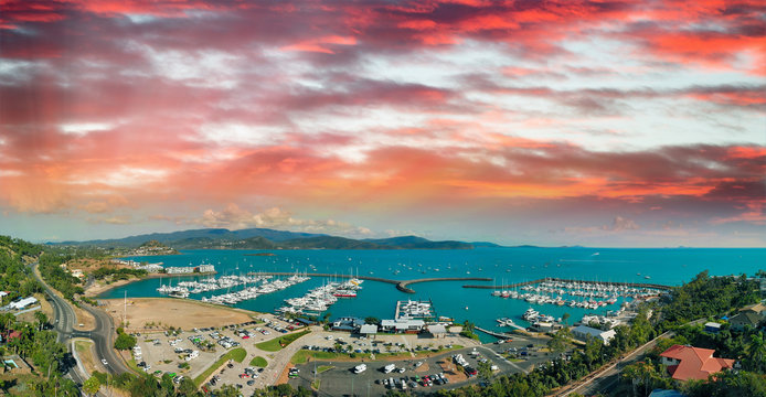 Panoramic aerial view of Airlie Beach skyline at dusk, Queensland