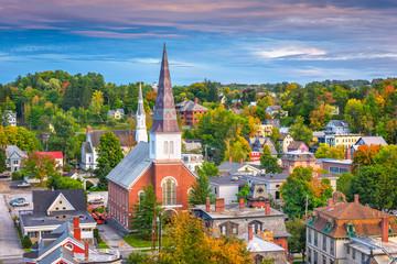 Acrylic Prints Lavender Montpelier, Vermont, USA town skyline