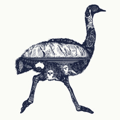 Ostrich double exposure tattoo and t-shirt design. Symbol of Australia, travel and toutdoor tourism