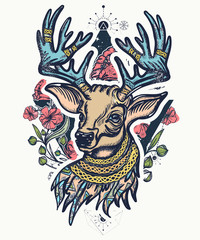 Christmas deer and art nouveau flowers color tattoo and t-shirt design. Symbol of winter and new year