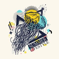 Magic jellyfish zine culture style. Summer lifestyle slogan. Hand drawn vector art, fashion contemporary collage
