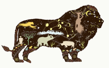 Lion double exposure color tattoo art and t-shirt design Symbol of Africa, travel, adventure, wild animals, safari