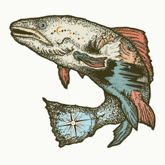 Salmon double exposure color tattoo. Symbol of fishing, tourism, wild nature, and outdoor travel