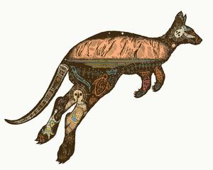 Kangaroo double exposure color tattoo and t-shirt design. Symbol of Australia, travel and tourism