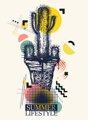 Cactus and ice cream. Zine culture style. Hand drawn vector art, fashion contemporary collage. Summer lifestyle slogan. Concept of pain and pleasure